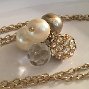J CREW 🤍 Gold Ball Pearl Cluster Necklace
